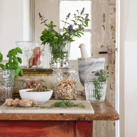 Interior styling inspiration, glass jars as vases or storage.