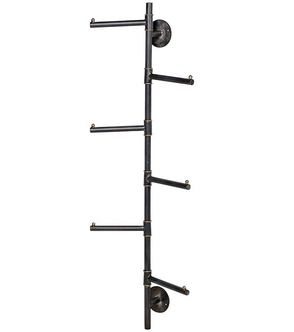 vertical storage solution for coats, jackets, guest bedroom hanging. great for limited space interiors. strong gun metal coat hooks with a brass painted touch. swivel prong hooks
