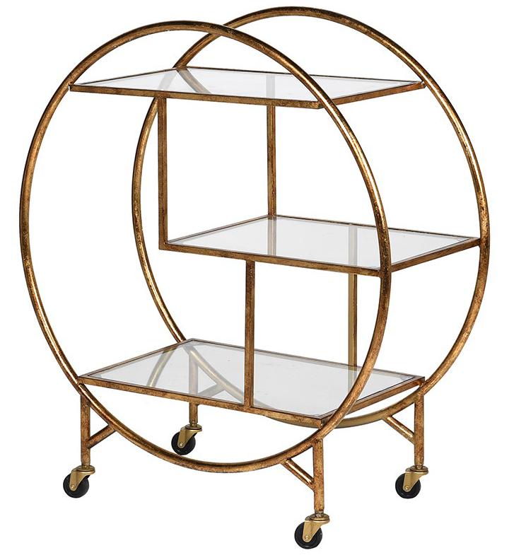 Art Deco Style Drinks Trolley.  Gold Finish Drinks Trolley.  Perfect big birthday gift.