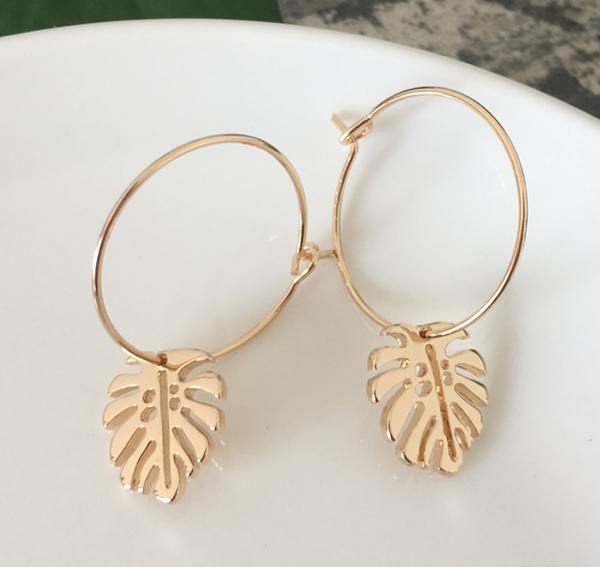 Palm Leaf Hoop Earrings