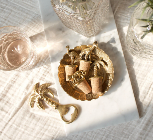 Brass and Cork Tropical Bottle Stoppers
