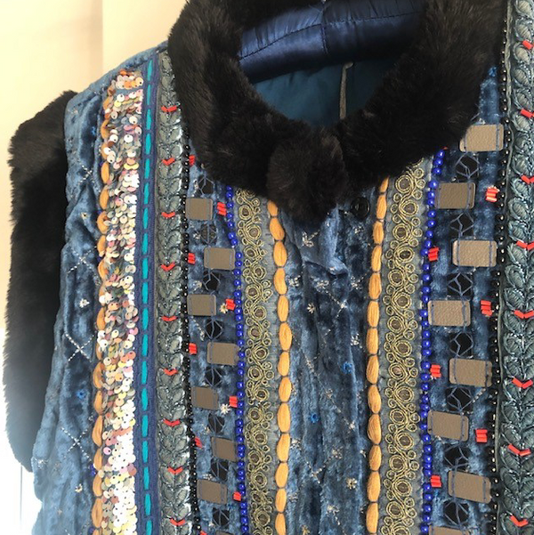 Embellished Gilet with Faux Fur Accents - Dutch Blue