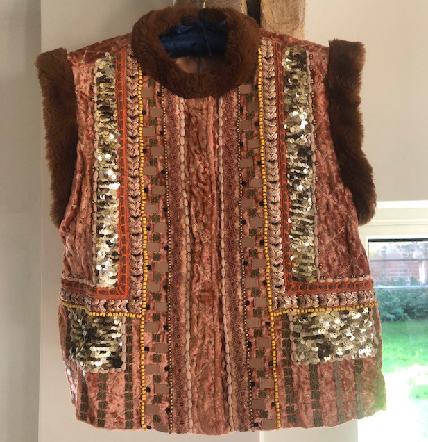 Embellished Gilet with Faux Fur Accents - Rust