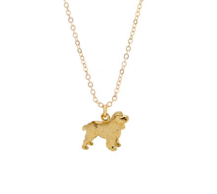 Small Spaniel Dog Charm - 22 carat gold on brass - by Mirabelle