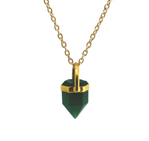 Green Onyx Point Pendant on Chain - by Mirabelle