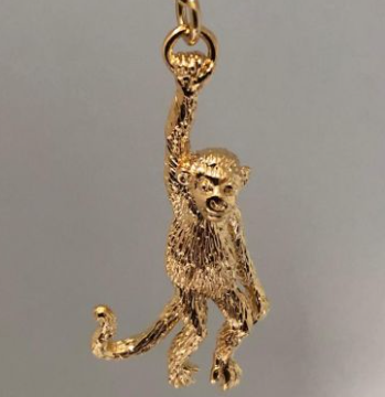 Hanging Monkey Charm - 22 carat gold on brass - by Mirabelle