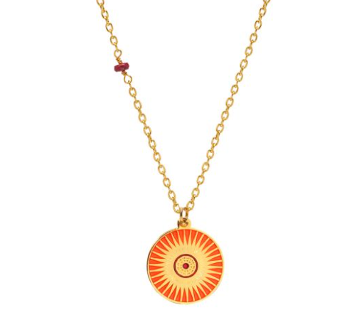 Mirabelle Sun Enamel Medal with Ruby