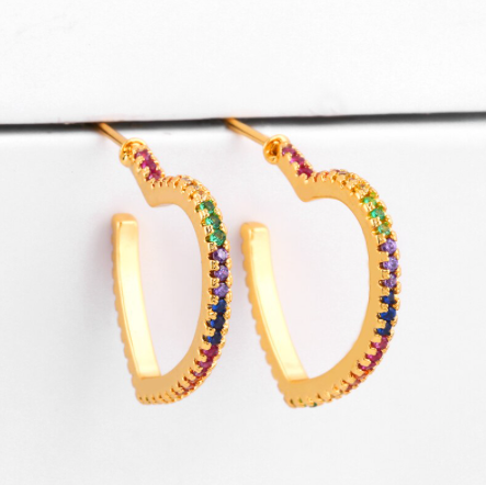 Point Drop Rainbow Stones Earrings