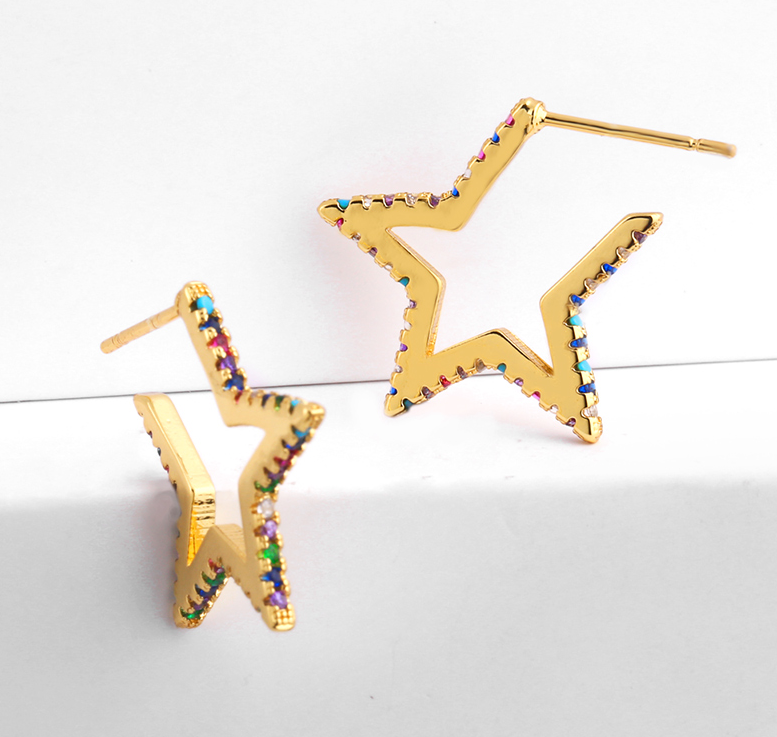 Star Hoop Rainbow Stones Earrings