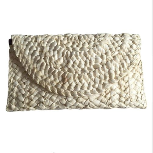 Slimline simple straw weave clutch bag