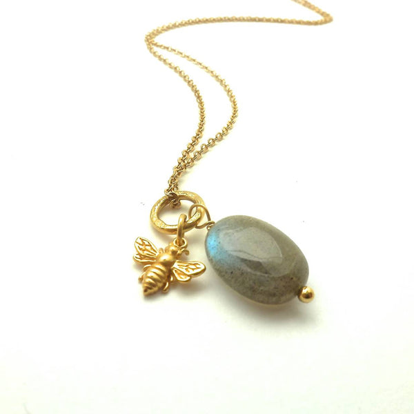 Mini Bee and Labradorite on Short Chain