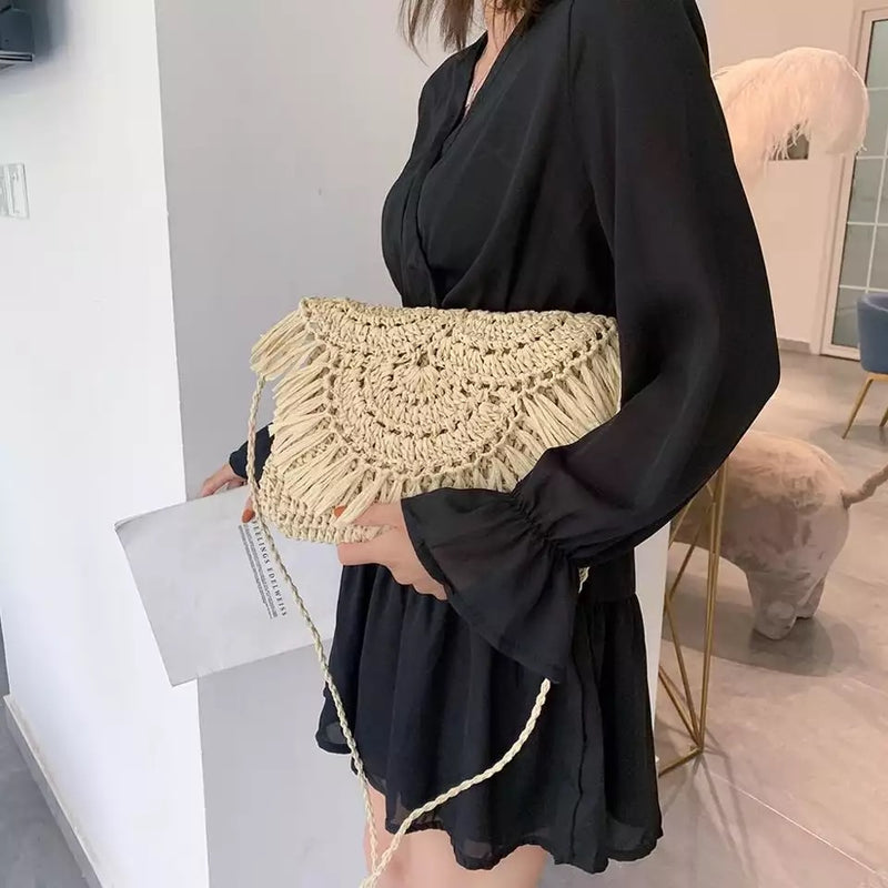 Straw Clutch / Bag - Crochet Look / Straw Fringe