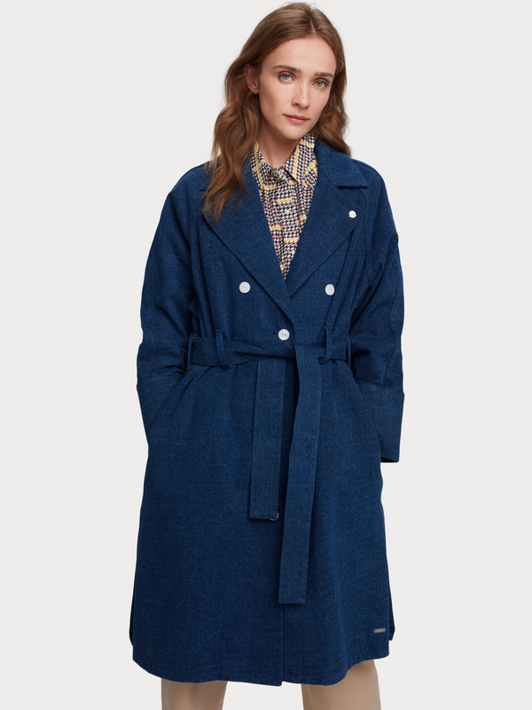 Long Belted Denim Trench Coat - SCOTCH AND SODA