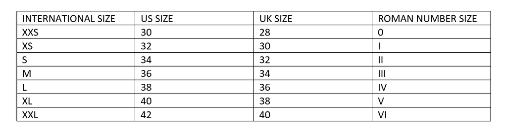 Size Guide Woman Underwear and BeachWear