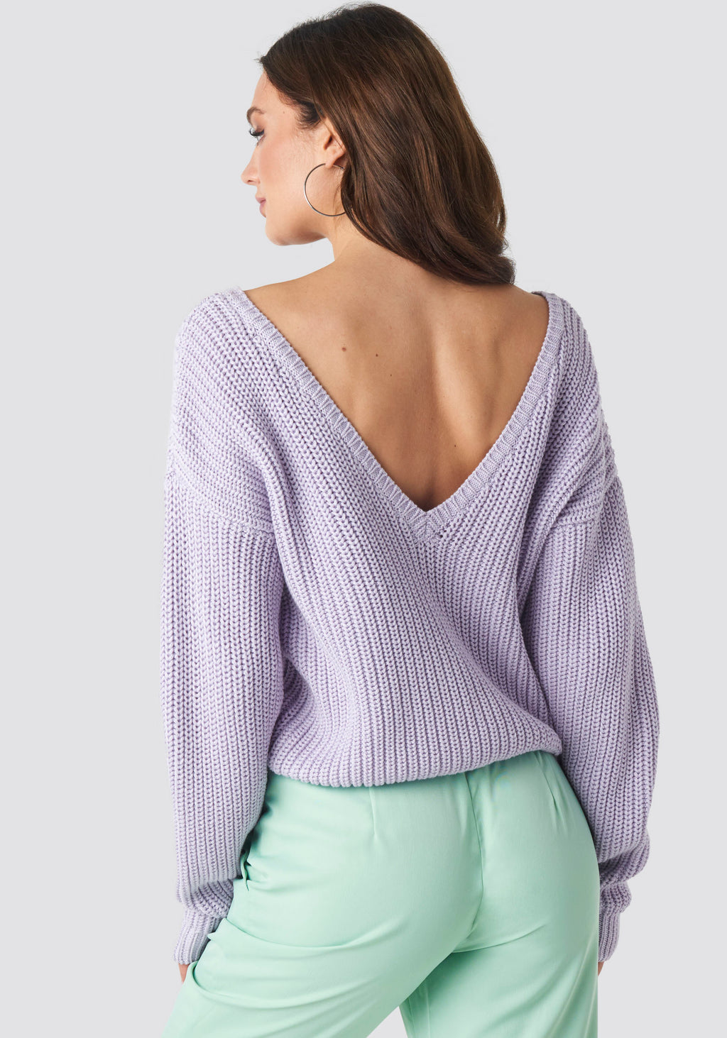 Sarah V-Neck Knit - Lilac - LittleCuteCorner.