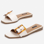 White Buckle Flat Slippers, shoes, vices, LittleCuteCorner. - Belgian Woman Online Clothing Store
