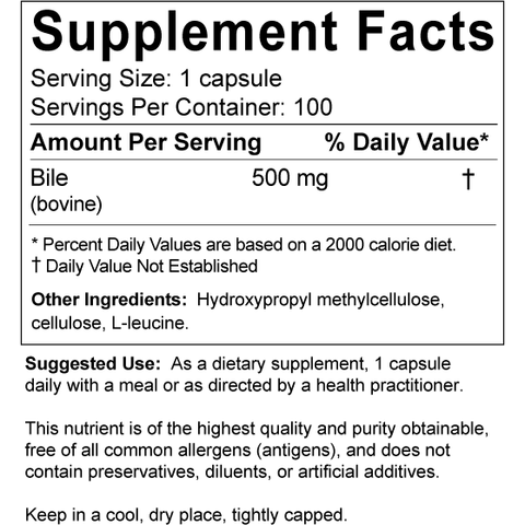 Allergy Research Group -Ox Bile - 100 capsules (500 mg.)