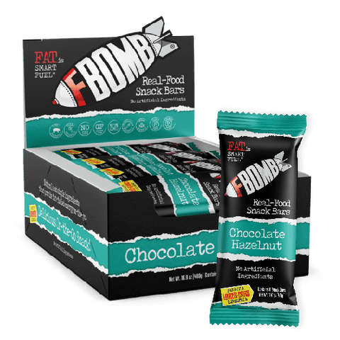 FBOMB - Chocolate Hazelnut Real Food Snack Bar - 1 BAR - 1.41 oz - 40g