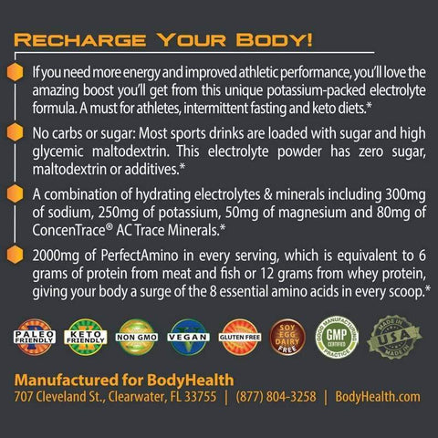 BodyHealth - PerfectAmino® Electrolytes - Orange Slice - 8.4oz