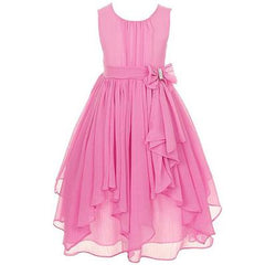GIRL DRESS FOR WEDDING IRREGULAR RUFFLED SUMMER PARTY PRINCESS DRESSES CHIFFON CHILDREN CLOTHING KIDS CLOTHES