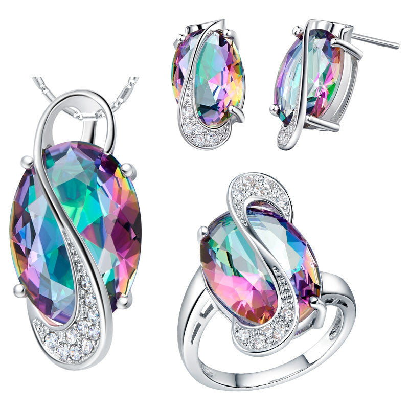 Wedding Jewelry Sets for Women Brides Silver Plated Colored Stud Earrings Ring Necklace Bridal Jewelry Set T155CELEBRITYSTYLEFASHION