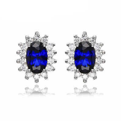 1.5ct Oval Blue Sapphire Earrings Stud 925 Sterling Silver Fashion Princess Diana Engagement Wedding Accessories - CelebritystyleFashion.com.au online clothing shop australia