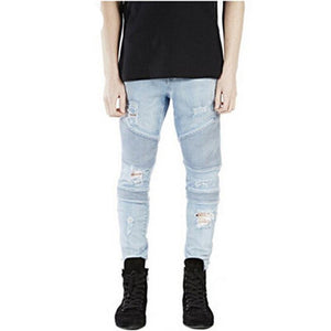 Hi-Street Mens Ripped Rider Biker Jeans Motorcycle Slim Fit Washed Black Grey Blue Moto Denim Pants Joggers For Skinny Men AY724 - CelebritystyleFashion.com.au online clothing shop australia