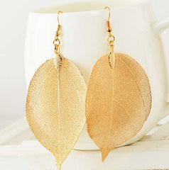 Fashion 18K Gold And Silver Plated Big Statement Long Drop Earrings Dipping Natural Real Leaf Earrings For Women - CelebritystyleFashion.com.au online clothing shop australia