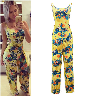 Yellow printing flower Halter straps woman Loose Jumpsuit #WD100 - CelebritystyleFashion.com.au online clothing shop australia