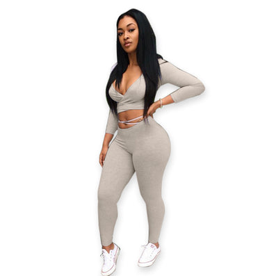 fashion two pieces deep v-neck gray bandage jumpsuit club night wear Rompers Women bodycon jumpsuit bandage Bodysuit - CelebritystyleFashion.com.au online clothing shop australia