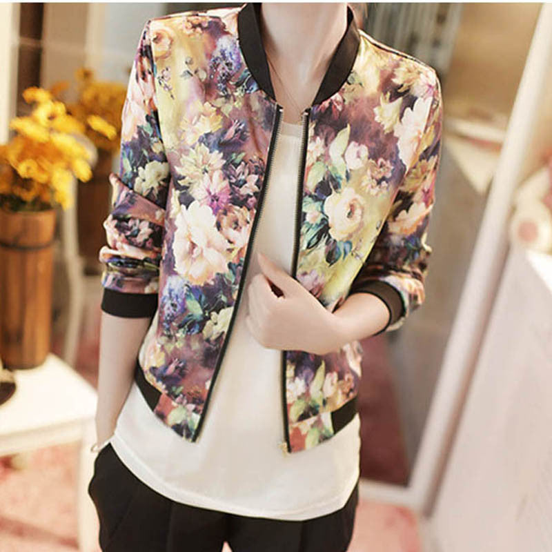 SNew Women Spring Jackets Short Tops Long Sleeve Floral Print Coat Vintage Women Clothing Bomber Jacket Chaquetas Mujer