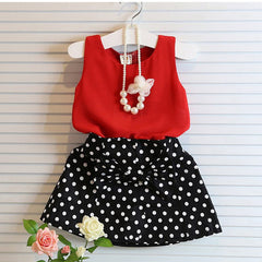 2~7 Years Girls Clothing Sets Pleated Lace Vest Two-piece Children Casual Conjunto Fashion Girls Clothes Suit Skirt - CelebritystyleFashion.com.au online clothing shop australia