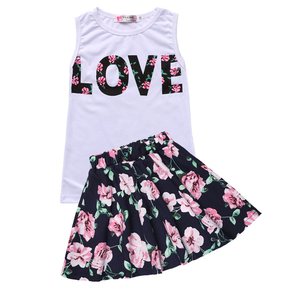 3a52581920cd New Fashion Girls Clothing Sets Summer Sleeveless T-Shirt Top and Floral  Skirt Cute Baby