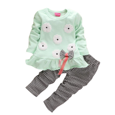 Flowers Print Bow Cute 2Pcs Cloth Set Children Cloth Suit Baby Girl Clothing Set Top T shirt + Pants High Quality YY0366 - CelebritystyleFashion.com.au online clothing shop australia