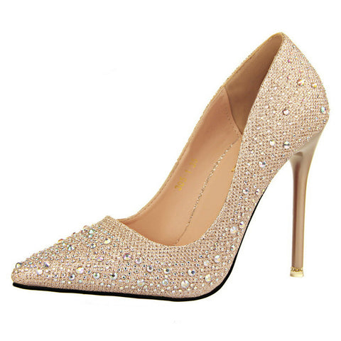 Sexy Women Silver Rhinestone Wedding Shoes Platform Pumps Red Bottom High Heels Crystal Shoes Gold Black Pink - CelebritystyleFashion.com.au online clothing shop australia
