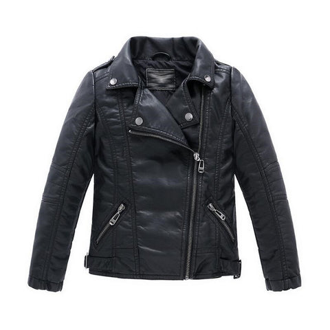 Teenager Girl Boys Leather Jacket Boys Casual Black Solid Children Outerwear Kids Girls Coats Spring Leather Jackets New - CelebritystyleFashion.com.au online clothing shop australia
