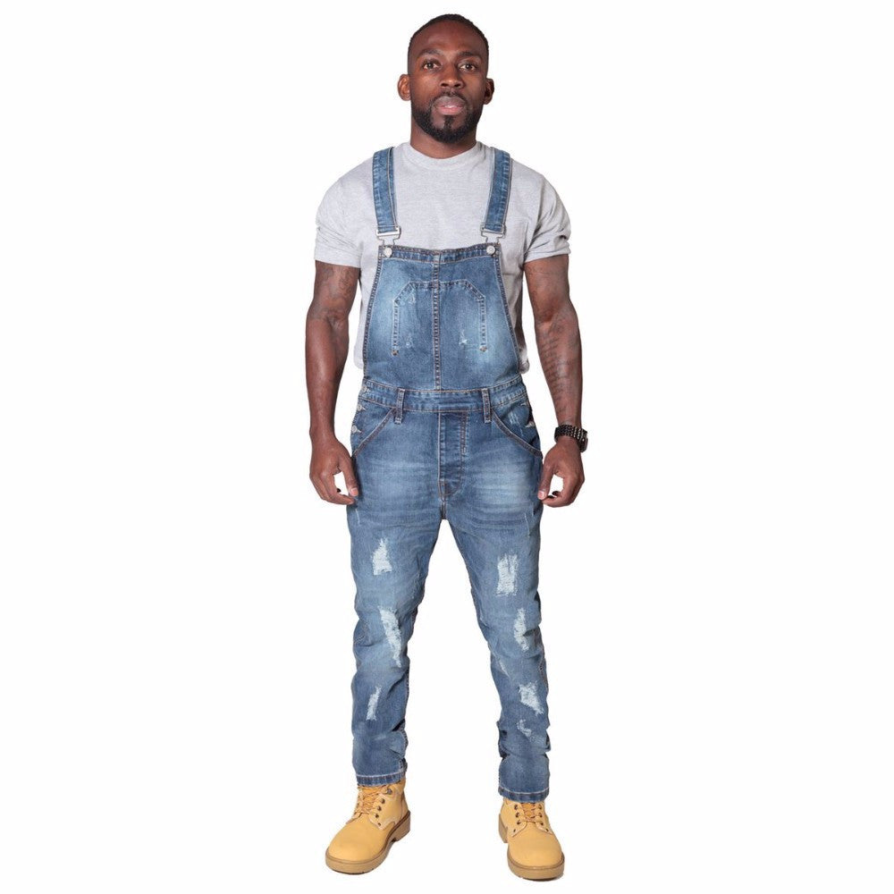 Blue / XLFashion Full Length Denim jumpsuit Clothing Biker Pencil Long Pants Men Fitness Jeans