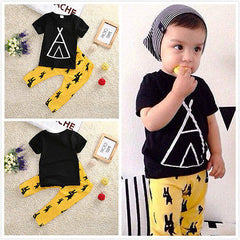 2016 New Kids Clothes Toddle Baby Boys Clothing Set Summer Short Sleeve T-Shirt Top and Pant 2pcs Outfit Children Set - CelebritystyleFashion.com.au online clothing shop australia