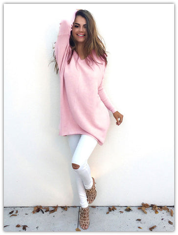 Autumn Winter Sweater Women Pullovers Knitted Casual Cashmere Sweaters V-Neck Loose Pullover Long Sleeve Jumpers - CelebritystyleFashion.com.au online clothing shop australia