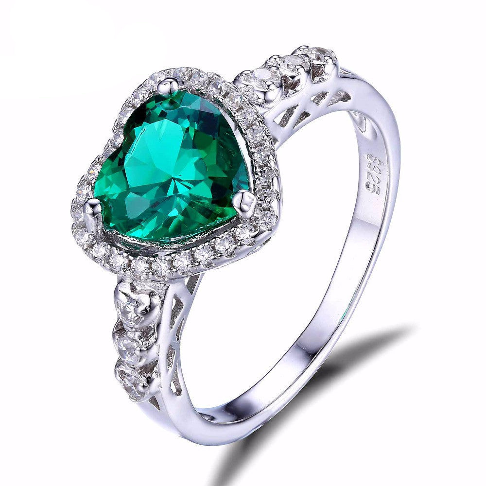 6 / Green3ct Russian Nano Emerald Ring Fashion Women Romance Design Lover's Gift Genuine 925 Solid Sterling Silver Jewelry