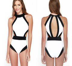 Patchwork Halterneck Padded Sexy Women Monokini One Piece Swimsuit Backless Female Swimwear Black New Swimsuits - CelebritystyleFashion.com.au online clothing shop australia