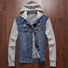 spring men's fashion men's sportswear cowboy hoodies, hooded jacket removable hat denim jacket size M-4XL, 5XL - CelebritystyleFashion.com.au online clothing shop australia