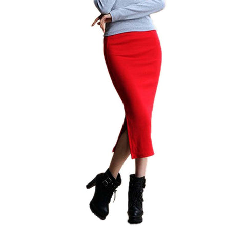 Autumn Skirts Sexy Chic Pencil Skirt Women Office Mid Waist Mid-Calf Solid Skirt Casual Slim Hip Placketing Lady Skirts - CelebritystyleFashion.com.au online clothing shop australia