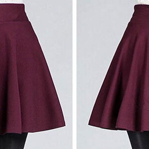 Sexy Women's Stretch High Waist Plain Skater Flared Pleated Casual Cotton Mini short Skirt Fashion - CelebritystyleFashion.com.au online clothing shop australia