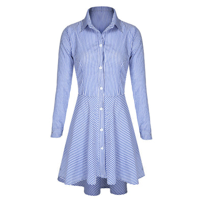 Women Autumn Winter Office Dresses Sexy Long Sleeve Striped Short Mini vestidos Female Casual Party Office Dress S-XL - CelebritystyleFashion.com.au online clothing shop australia