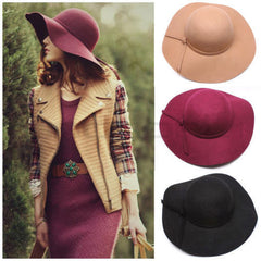 Vintage Women's Lady Snapback Cap Wide Brim Wool Felt Bowler Hat Sun Bowknot Black/Wine Red/Coffee/Light Camel Casquette Gorras - CelebritystyleFashion.com.au online clothing shop australia