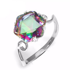 3.2ct Genuine Rainbow Fire Mystic Topaz Ring Solid 925 Sterling Silver Jewelry Best Gift For Women Fine Jewelry - CelebritystyleFashion.com.au online clothing shop australia