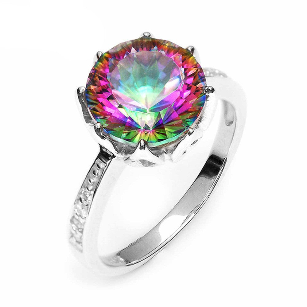 64.3ct Round Natural Rainbow Fire Mystic Topaz Ring Genuine 925 Sterling Silver Ring For Women Fashion Jewelry
