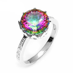 4.3ct Round Natural Rainbow Fire Mystic Topaz Ring Genuine 925 Sterling Silver Ring For Women Fashion Jewelry - CelebritystyleFashion.com.au online clothing shop australia