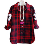 Fashion Children Casual Long Sleeves Plaid Shirt Blouse Baby Girls School Cotton Clothes Kids Casual Clothes 2 colors - CelebritystyleFashion.com.au online clothing shop australia